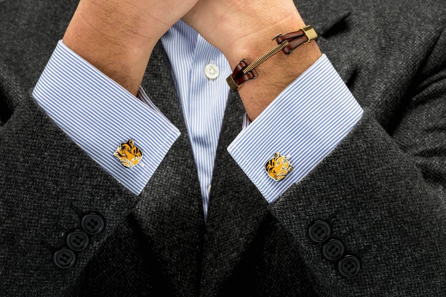 tiger cufflinks and bracelet